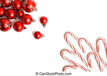 weihnachten, decoration., rotes , kugeln, und, glocken