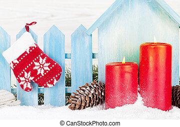 weihnachten, dekor, kerzen, und, tanne