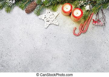 weihnachten, dekor, kerzen, und, tanne, zweig