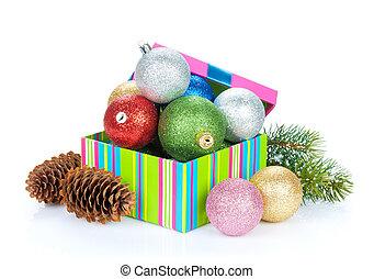 weihnachten, dekor, und, schnee, tanne