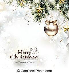 weihnachten, design, mit, christbaumkugeln