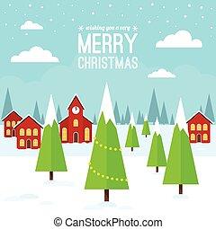 weihnachten, dorf, winter- szene