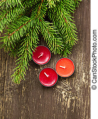 weihnachten, duftend, kerzen, und, tanne, zweige