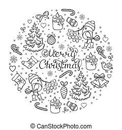 weihnachten, färbung, seite