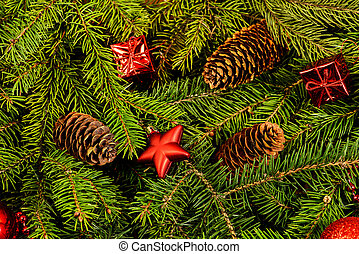 weihnachten - Festive Christmas Background - fir branches...