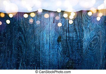weihnachten, frame;, winter, blaues, verschneiter , background;