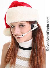 weihnachten, frau, vertreter