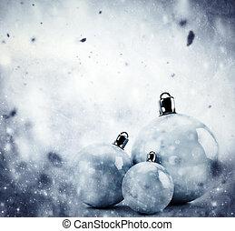 weihnachten, glas, kugeln, auf, winter, weinlese, hintergrund
