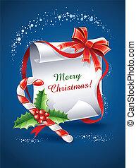 weihnachten, grüßen karte, mit, karamell, krückstock