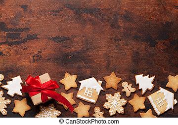 weihnachten, grüßen karte, mit, lebkuchen- plätzchen