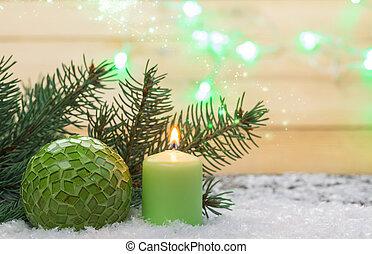 weihnachten, grüßen karte, weihnachtsdeko, mit, kerze