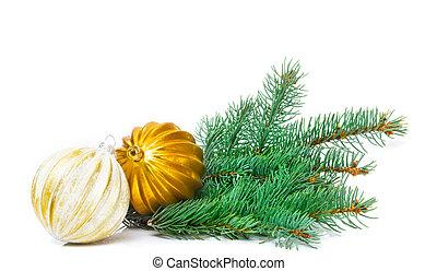 weihnachten, grüßen karte, weihnachtsdeko, mit, weihnachtsbaum, kugeln, freigestellt