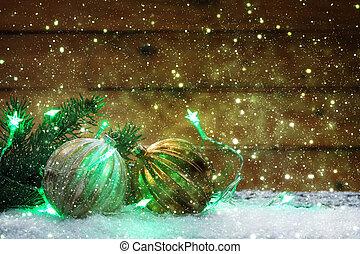 weihnachten, grüßen karte, weihnachtsdeko, mit, weihnachtsbaum, kugeln