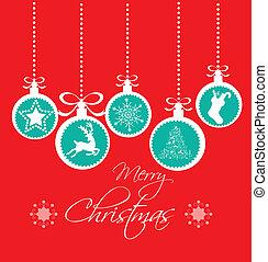 weihnachten, grüßen karte, weinlese, rotes