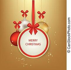 weihnachten, gruß, card., vektor, krank