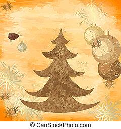 weihnachten, grunge, hintergrund, mit, a, baum
