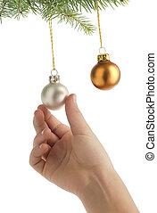weihnachten, hängen, kugeln