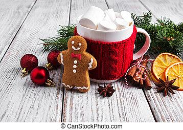 weihnachten, heiße schokolade, mit, eibisch