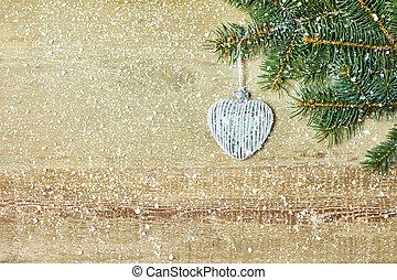 weihnachten, herz hat gestaltet, kugel, auf, tanne, branche