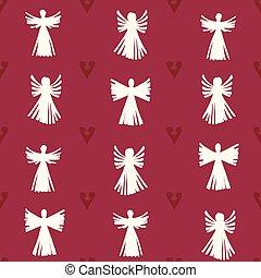 weihnachten, herzen, vektor, seamless, muster, hintergrund., stroh, engel