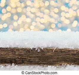 weihnachten, hintergrund, bokeh, schnee, und, holz