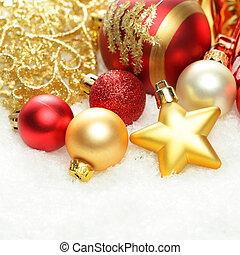 weihnachten, hintergrund, dekorationen, umrandungen, auf, schnee