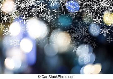 weihnachten, hintergrund, design, von, schneeflocke, und, bokeh, licht