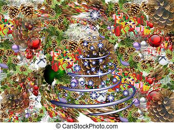 weihnachten, hintergrund., kaleidoskop, von, spielzeuge, kegel, geschenke, lametta