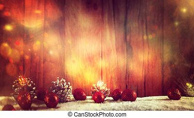 weihnachten, hintergrund, mit, baubles, und, sternen