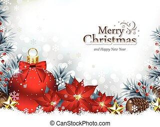 weihnachten, hintergrund, mit, christbaumkugeln, und, poinsettia, blumen