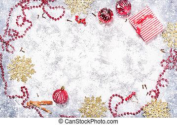 weihnachten, hintergrund, mit, dekorationen, und, geschenk, box.