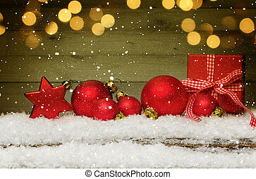 weihnachten, hintergrund, mit, dekorationen, und, geschenkschachtel