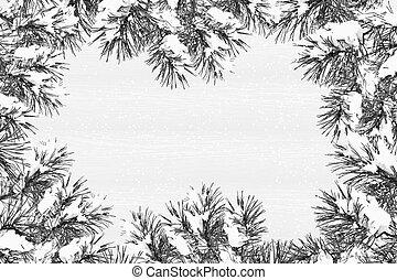weihnachten, hintergrund, mit, kiefer, branches.