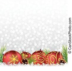 weihnachten, hintergrund, mit, kugel, und, tanne, auf, der, schnee