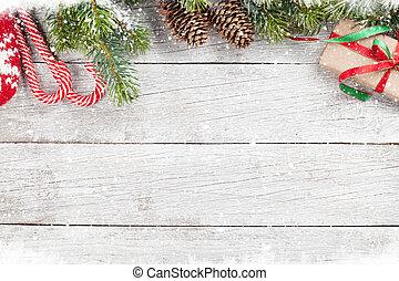 weihnachten, hintergrund, mit, schnee, tanne