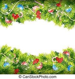weihnachten, hintergrund, mit, tanne, branches.