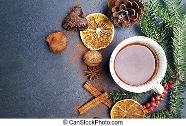 weihnachten, hintergrund, mit, tanne, nüsse, und, heiße schokolade