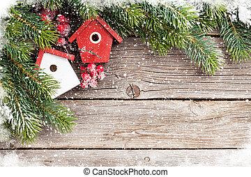 weihnachten, hintergrund, mit, tanne, und, dekor