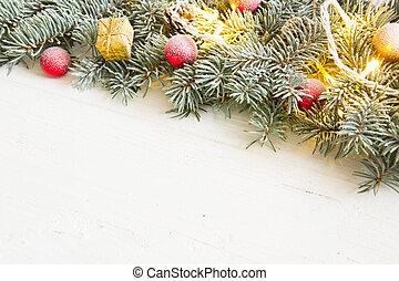 weihnachten, hintergrund, mit, tanne, und, dekoration, weiß, holzbrett