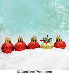 weihnachten, hintergrund, mit, weihnachten, dekoration, und, schnee