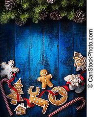 weihnachten, hintergrund, mit, weihnachten, lebkuchen, und, weihnachtsteller, stöcke