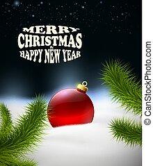 weihnachten, hintergrund, mit, weihnachtskugel, in, der, schnee