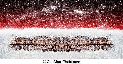 weihnachten, hintergrund, schnee, auf, holz