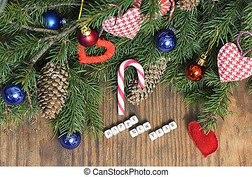 weihnachten, hintergrund, tanne, kugel