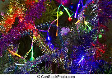 weihnachten, hintergrund, von, lametta, und, girlande