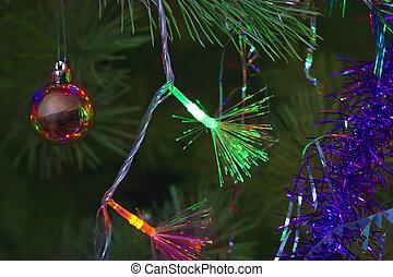 weihnachten, hintergrund, von, lametta, und, girlanden