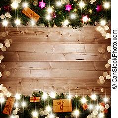 weihnachten, hintergrund, weihnachtsgeschenke, auf, holz