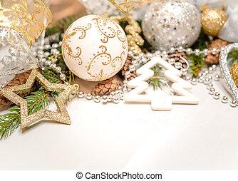 weihnachten, hintergrund, weihnachtskarte, kiefer- kegel, tannenzweige, auf, hölzern, weißes, hintergrund., wohnung, legen, draufsicht, kopieren platz