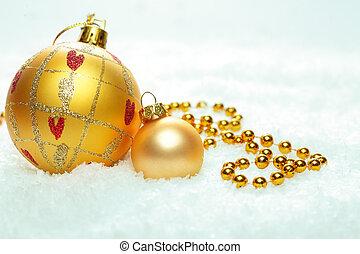 weihnachten, hintergrund, witz, goldenes, weihnachten, kugeln