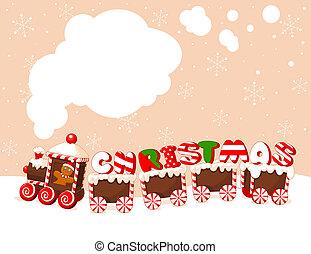 weihnachten, hintergrund, zug
